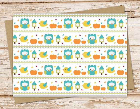 autumn note cards notecards set . pumpkins, owl, birds, fall season . blank cards . stationery folded cards stationary . nature cards