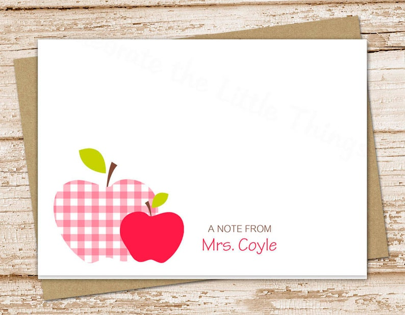 plaid apple apple personalized note cards teacher gift folded stationary cards gingham notecards teacher stationery set of 10
