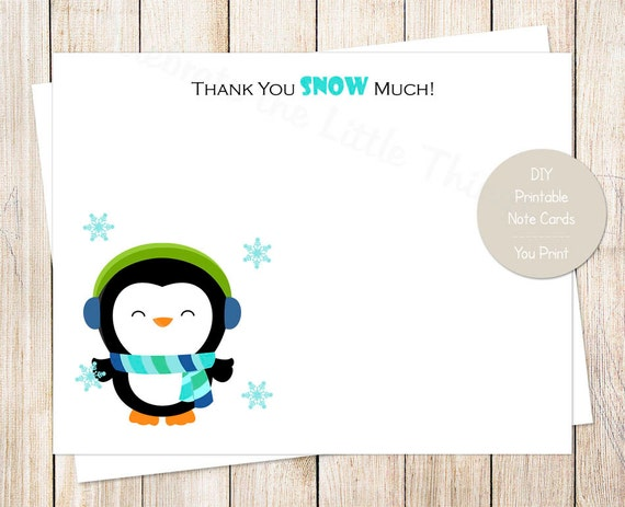 Printable Penguin Thank You Cards Winter Wonderland Birthday