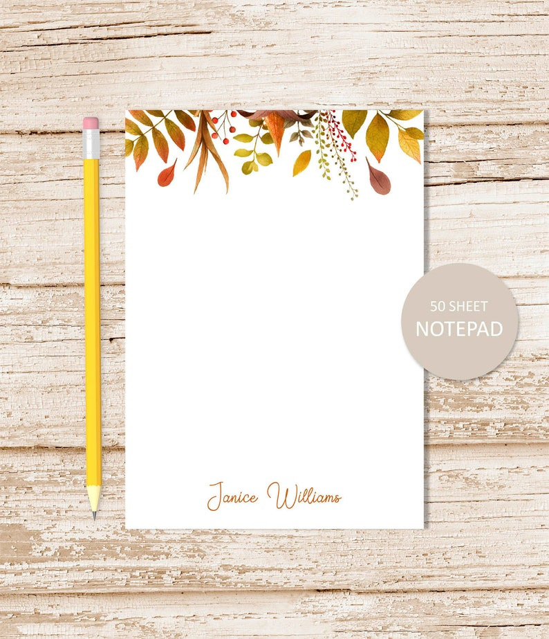 personalized notepad AUTUMN LEAVES note pad . fall leaf image 0