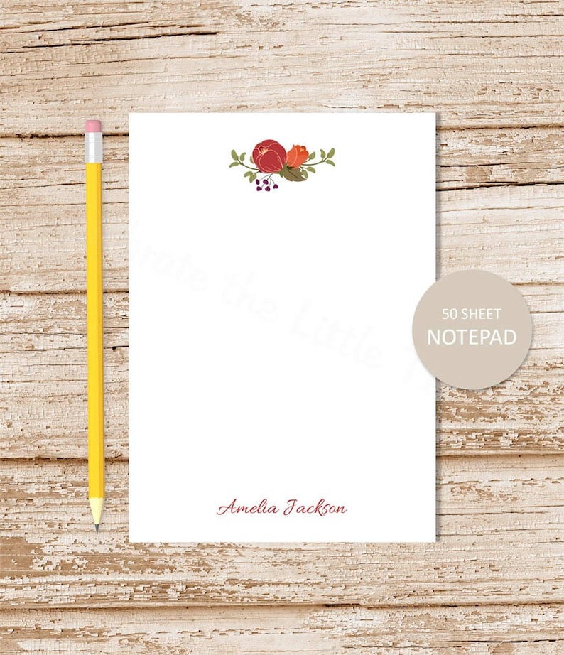 personalized notepad . RUSTIC FLOWERS notepad . floral note image 0