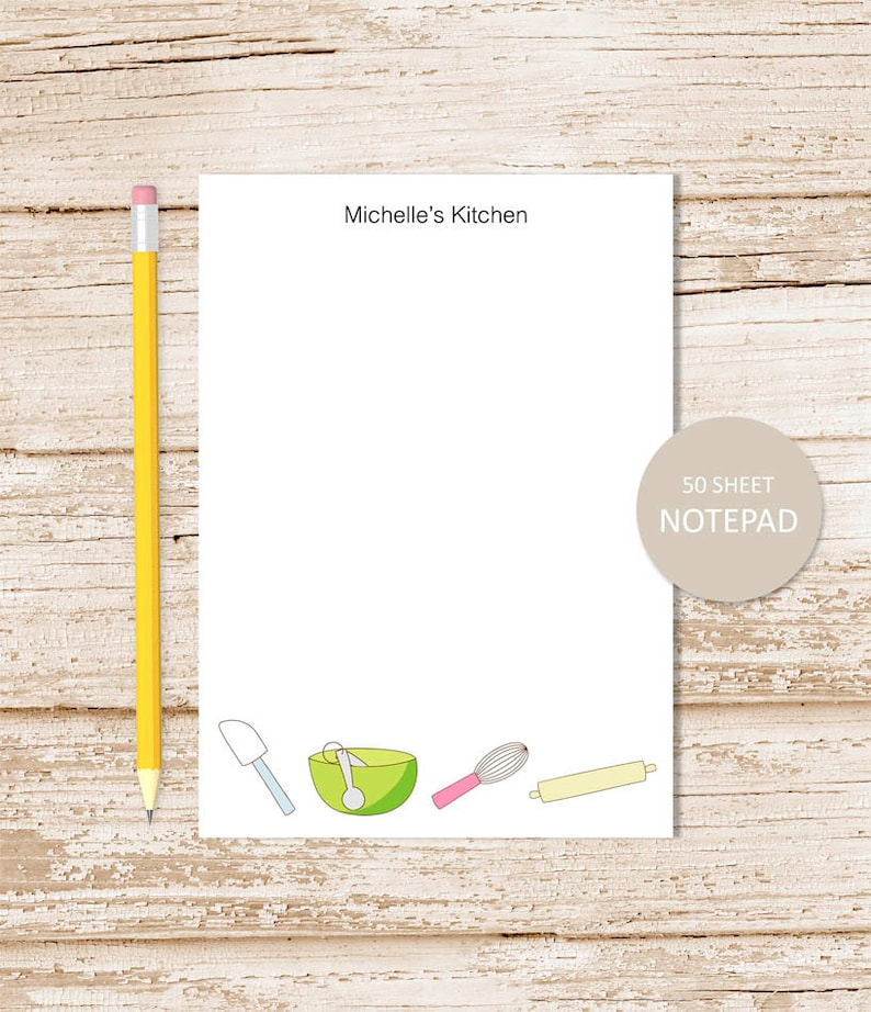 personalized notepad . KITCHEN notepad . grocery list . baker image 0