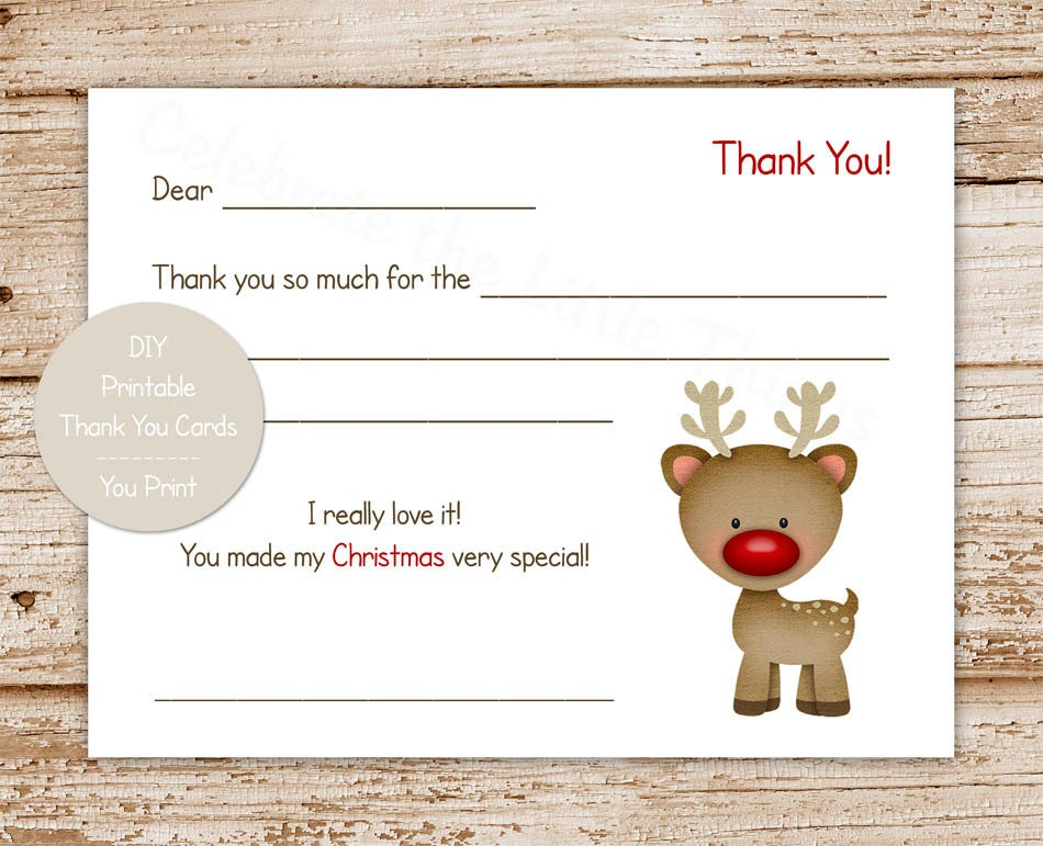 PRINTABLE christmas thank you cards for kids . rudolph | Etsy