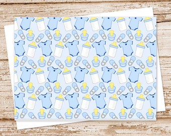 baby boy note card set . thank you notes . baby shower notecards . blank note cards . folded stationery . stationary . set of 6
