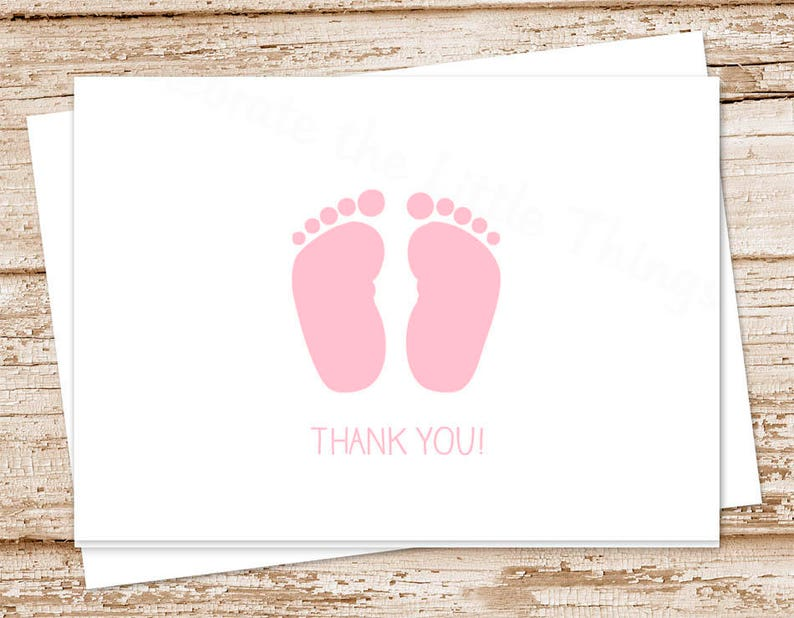 baby girl thank you card . pink baby feet . folded note cards image 0