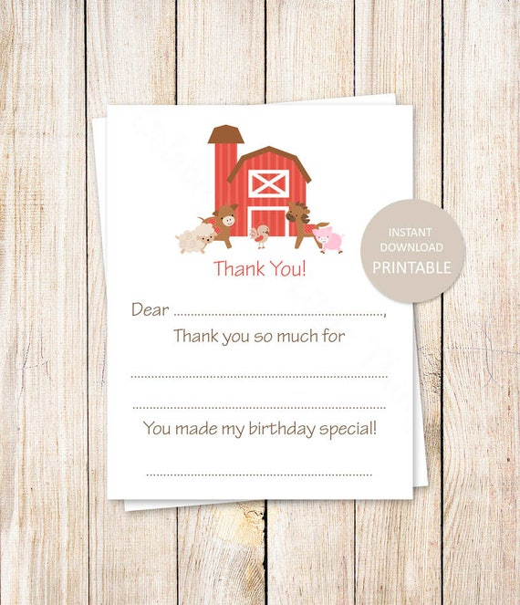 graphic about Fill in the Blank Thank You Cards Printable identified as PRINTABLE farm thank your self playing cards . birthday fill inside of the blank