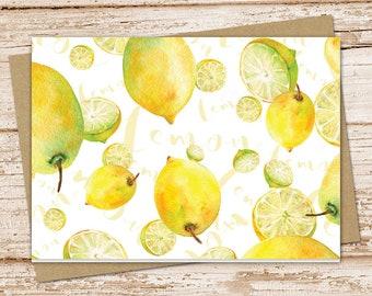 lemons note card set . watercolor lemon . fruit notecards . blank note cards . folded stationery . stationary . set of 6