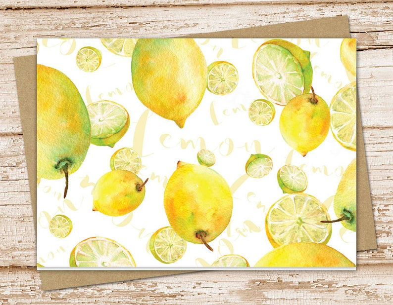 lemons note card set . watercolor lemon . fruit notecards . image 0