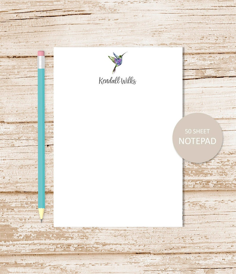 personalized notepad . HUMMINGBIRD . note pad . notepad . image 0