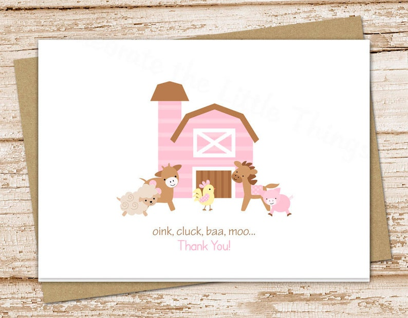 farm thank you cards for girls . folded note cards . pink farm image 0