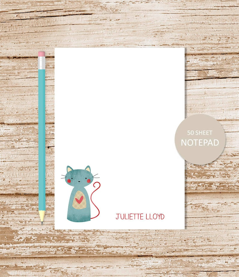 personalized notepad .  PATCHWORK CAT . note pad . kitty cat image 0