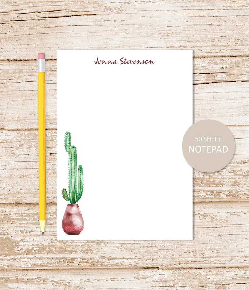 personalized notepad note pad . CACTUS POT . notepad . image 0
