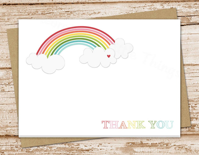 rainbow thank you cards for girls . folded note cards . image 0