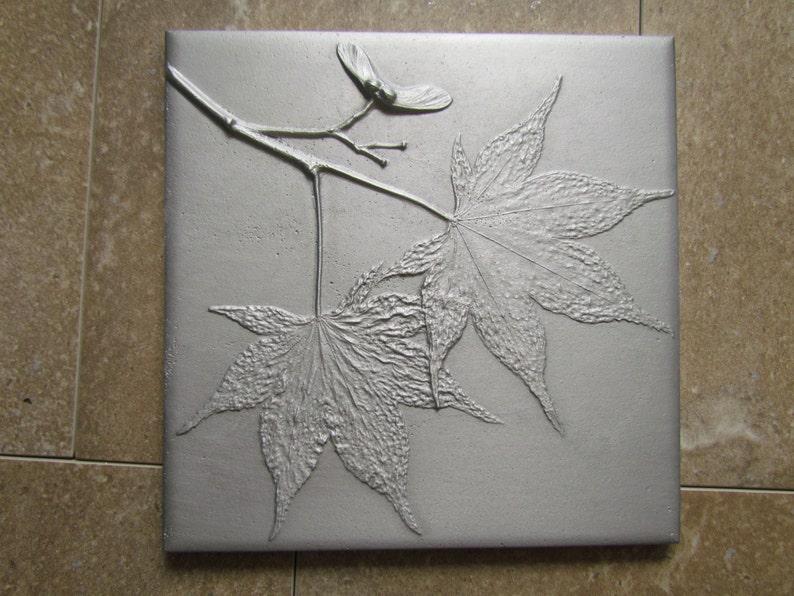 Japanese Maple Leaf 6 x 6 inch Botanical Tile Recycled Cast image 0