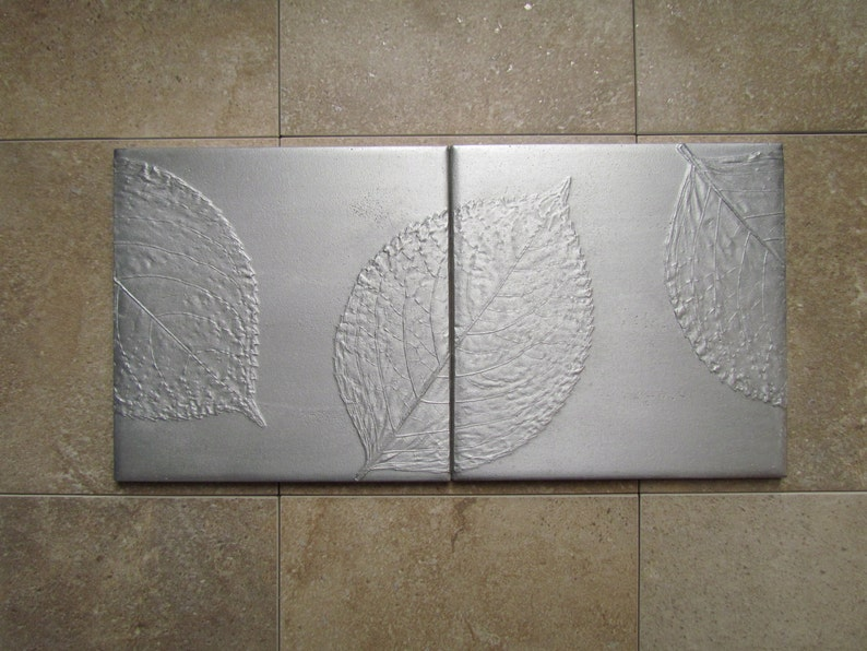 Hydrangea Leaf Tile Mural Metal Wall Art Set of 2 Made to image 0