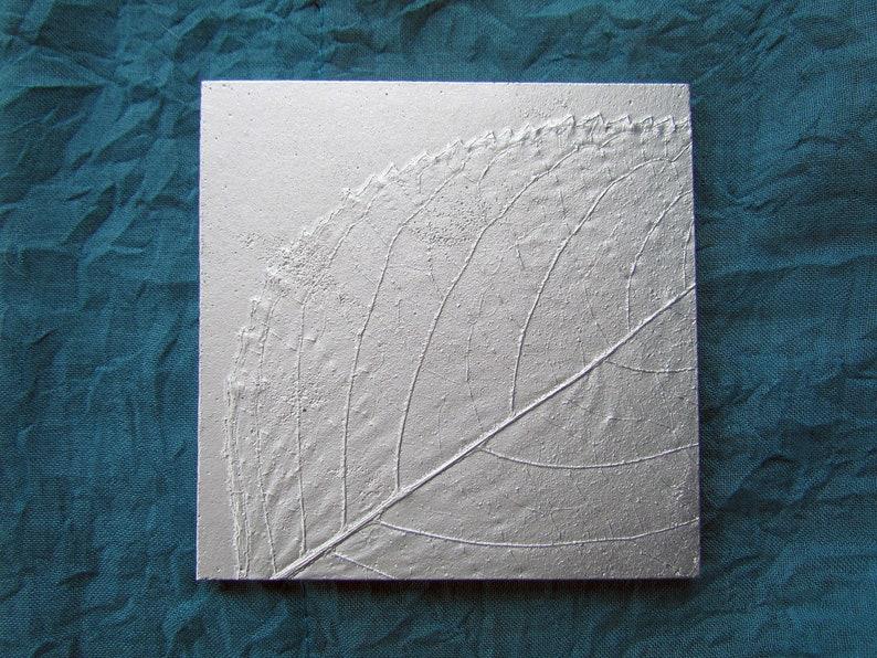 Hydrangea Leaf No. 1 Botanical Tile 4 inch Recycled Aluminum image 0