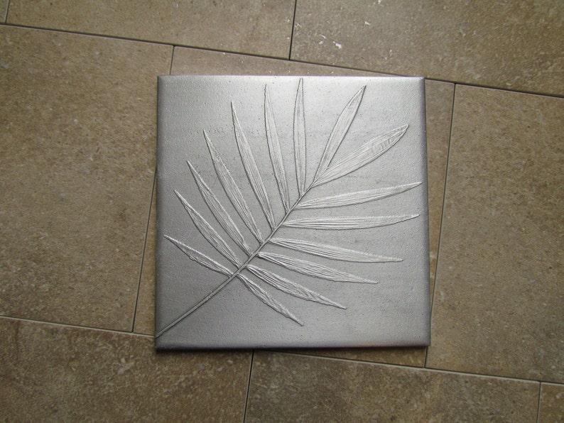 6 x 6 inch Recycled Cast Aluminum Botanical Tile Neanthe image 0
