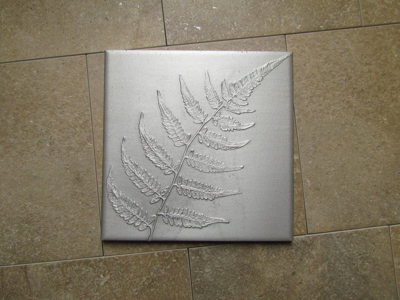 Japanese Painted Fern Leaf Wall Art Botanical Tile Recycled image 0