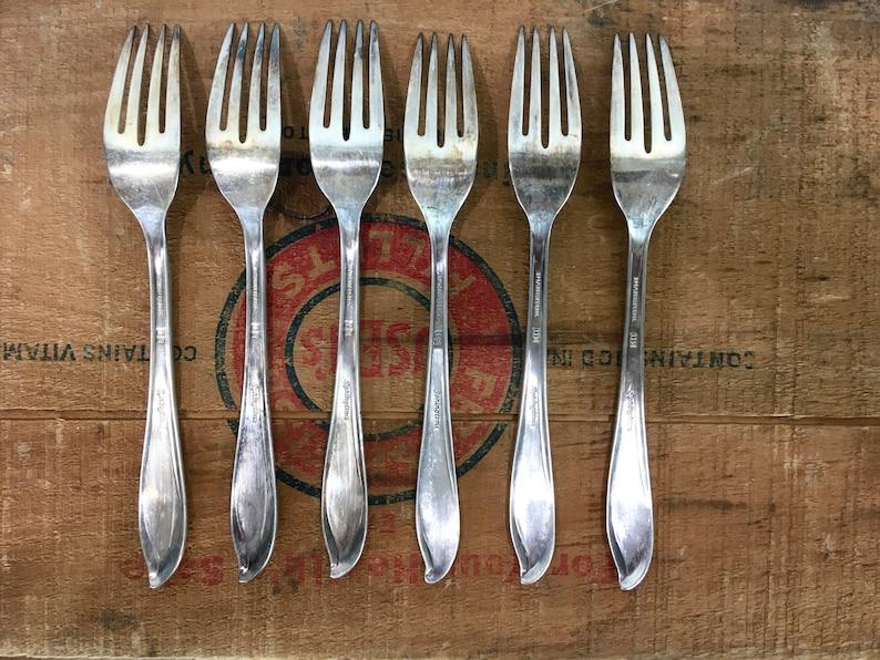 Vintage Silver Plate Fork Lot of 6 1847 Rogers Bros Springtime Dinner Forks Replacement Set Silverware Flatware