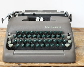 Vintage Smith Corona Sterling Manual Typewriter 1949 with Case Green Keys
