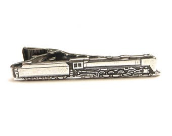 Train Tie Clip, Train Tie Bar, Silver or Antiqued Brass Finishes, Gifts For Dad, Gifts For Husband
