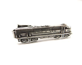744e353a00dc Train Tie Clip, Santa Fe Locomotive Tie Bar, Train Tie Bar, Silver or  Antiqued Brass Finishes, Gifts For Dad, Gifts For Husband, #2SF
