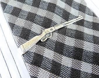 Rifle Tie Clip Rifle Tie Bar Sterling Silver Finish Men's Accessories