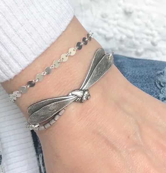 Steampunk Libelle Armband, Silber Ochse oder Messing Finish, kann angepasst werden, fügen Sie auf Initialen & Birthstones