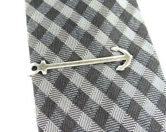 Anchor Tie Bar Mariners Cross Tie Clip Sterling Silver Ox Finish Anchor Tie Pin Gifts For Men