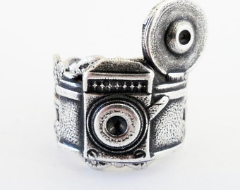 Steampunk Camera Ring- Adjustable- Sterling Silver Ox Finish