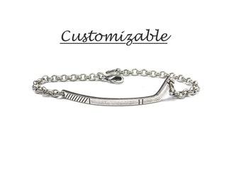 Hockey Bracelet, Hockey Stick Bracelet, Girls hockey Jewelry, Hockey Gifts, Sterling Silver Ox  or Brass Finish Unisex Bracelet Sale