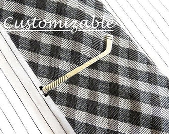 Hockey Stick Tie Clip Silver, Brass, and Brushed Finishes