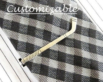 Hockey Tie Clip, Hockey Tie Bar, Sterling Silver and Antiqued Brass Finishes, Hockey Stick Tie Clip- Personalized