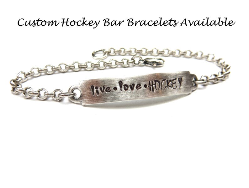 Custom Hockey Tie Clip Brass Hockey Stick Tie Bar and Brushed Finishes Silver Personalized