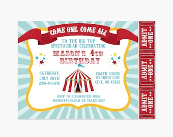 Carnival Birthday Party Invitations - Circus Printable Invite - Girl Boy Party Invitations - Circus Tent Ticket