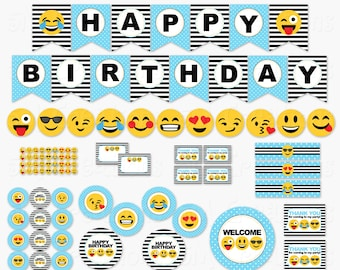 Emoji Birthday Party Printable Decorations - Smiley Face Birthday Party Printables - Tween Teen Banner Cupcake Toppers  INSTANT DOWNLOAD