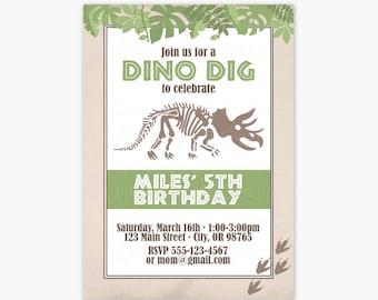 Dinosaur Skeleton Birthday Party Invitations - Dino Birthday Party Printable Invite - Dinosaur Party Invitations - Boy Party Invitations