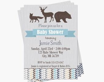 Fox Baby Shower Invitations Woodland Baby Shower Invites Etsy