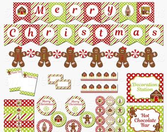 Gingerbread House Party Printable Decorations - Cookie Decorating Party Decor - Christmas Party Printable- INSTANT DOWNLOAD