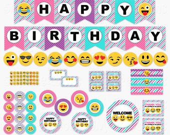 Girl Emoji Birthday Party Printable Decorations - Smiley Face Birthday Party Printables - Tween Teen Banner Cupcake Topper  INSTANT DOWNLOAD