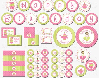 Tea Party Birthday Party Printable Decorations Package - Butterfly Tea Party Printables - Banner Cupcake topper INSTANT DOWNLOAD Pdf