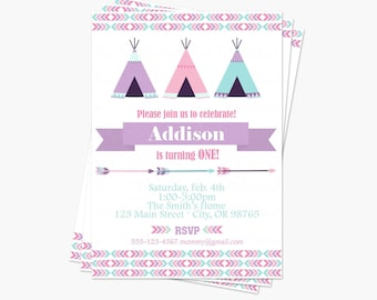 Girl Tribal Birthday Party Invitation - Little Chief Birthday Party Printable Invite - Wild One First Birthday Pink Purple Aqua Teepee Arrow
