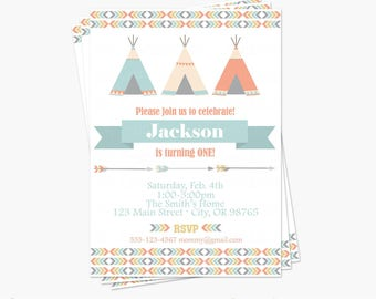 Boy Tribal Birthday Party Invitation - Little Chief Birthday Party - Printable Invite - Wild One First Birthday Party- Teepee Arrow Feather