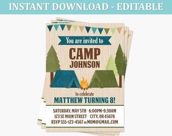 Camping Birthday Party Printable Invitation - EDITABLE INSTANT DOWNLOAD - Camping Invite - Boy Tent Outdoor Adventure Invitation - pdf