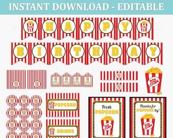 Popcorn Birthday Party Decor - EDITABLE Printable Instant Download PDF - Movie Night Birthday Party Decoration