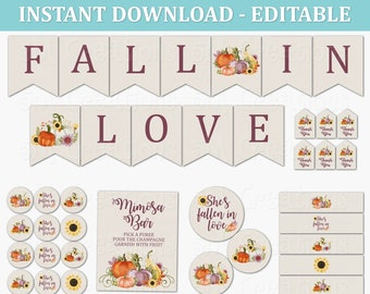 Fall in Love Bridal Shower Party Decor - EDITABLE Printable Instant Download PDF - Fall Pumpkin Sunflower Floral Bridal Shower Decorations
