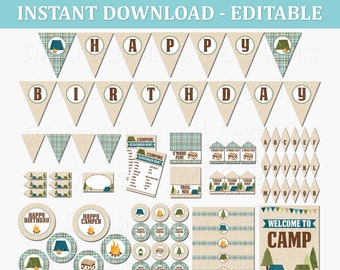 Camping Birthday Party Printable Decorations -  Editable  INSTANT DOWNLOAD pdf - Boy Camping Party - Camp Out Printables - Camp Banner Signs
