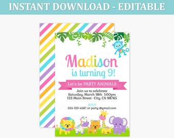 Rainbow Safari Animal Birthday Party Invitations - Rainbow Animal EDITABLE Printable Invitation PDF - Kids Party Invite