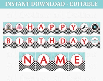 50s Diner Happy Birthday Banner - Editable Printable Banner - 1950 Sock Hop Diner Birthday Party Decor - Instant Download