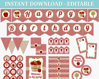 Apple Birthday Party Decor - EDITABLE Printable Instant Download PDF - Apple Orchard Fall Party - Red Gingham Picnic Party